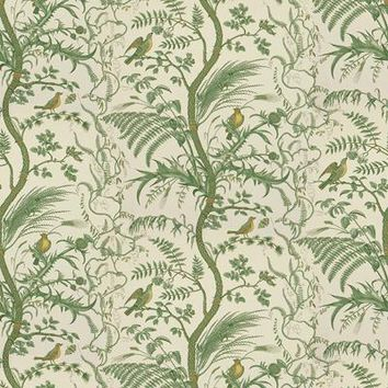 Brunschwig & Fils Fabric BR-79431.435 Bird and Thistle Cotton Print Green