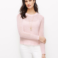 Pink Cropped Relaxed Sweater | Ann Taylor