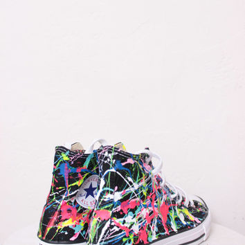 Kids Black High Top Splatter Painted Converse Sneakers Kids Size 3, Bright Lights Big City Colors