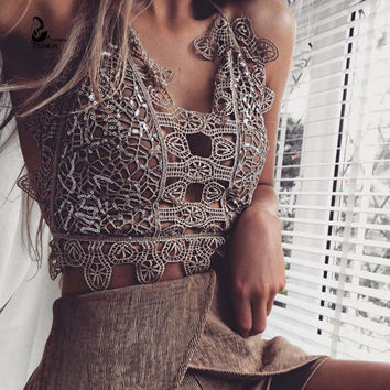 2016 holoow out crop top cropped crochet Hanging Halter V Neck Sleeveless Waist Corset Backless Bodycon Women's Tank Top