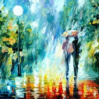 SUMMER RAIN — PALETTE KNIFE Oil Painting On Canvas By Leonid Afremov - Size 24x30. 10% discount coupon - deviantart10off