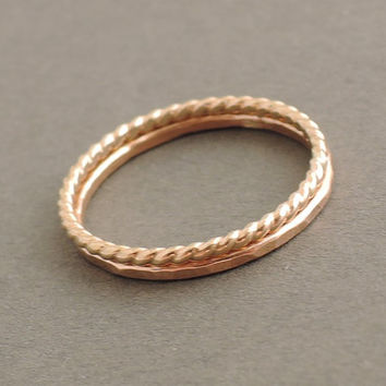 Rose Gold Ring and Gold Twist Ring 2 thin stackable rings