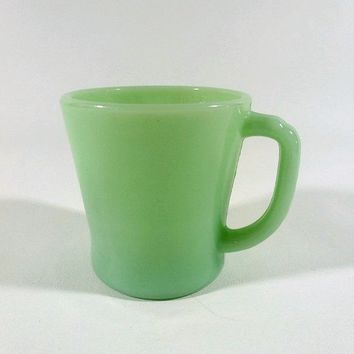 40s Vintage Fire King Jadite Mug Flat Bottom D Handle / Jade-ite