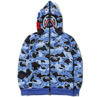 BAPE SHARK  Psychedelic star camouflage shark zipper hoodie women men lover's coat
