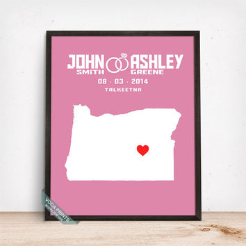 Oregon Map Print, Wedding Print, Anniversay Gift, Custom Map Print, Customized Gifts, Wedding Poster, Office Decor, Mothers Day Gift