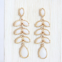 Ivory Vine Drop Down Earrings