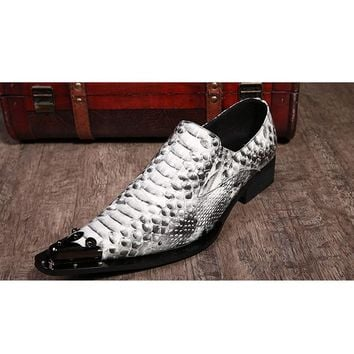 New Arrival 2017 Men Dress Shoes Luxury Flats High Quality Snake Pattern Formal Business snakeskin Party Wedding Shoes Size 46
