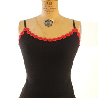 1990s.  Betsey Johnson. black Swiss dot tank top. with hot pink daisy floral trim. small-medium