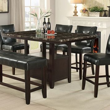 Poundex F2461-1754-1755 6 pc Arenth collection espresso finish wood counter height table with faux marble top dining table set