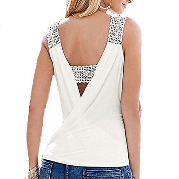Womens V-Neck Crochet Lace Strap White Tank Top