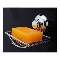 Stainless Steel Soap Rack Holder Suction Tray Dish Shower Bathroom Soap dish