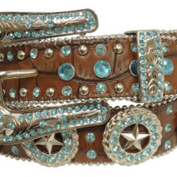 Showman Couture Belt Turquoise Brown Belt