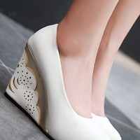 White Round Toe Hollow-out Fashion Wedges Shoes