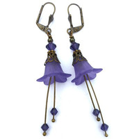 Purple Frosted Flower Earrings, Swarovski Crystal, Antique Brass, Dangle jewelry.