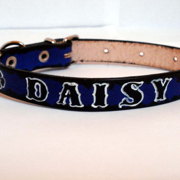 "Personalized dog collar, 5/8"" wide, leather dog collar, red, blue, green, black letters with white highlight"