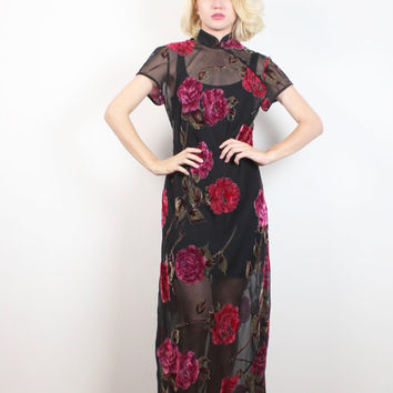 Vintage 90s Maxi Dress SHEER Black Pink Floral Print Velvet Burn Out Asian Style Soft Goth Dress 1990s Burnout Grunge Dress XS S Small M Med