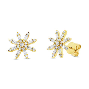 Dainty Solid Gold Diamond Star Stud Earring, 0.64CT 14K Yellow Gold Natural Baguette Diamond Snowflake Star Stud Earrings