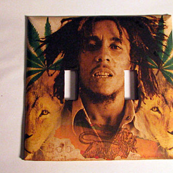 Double Light Switch Cover - Light Switch Plate Bob Marley