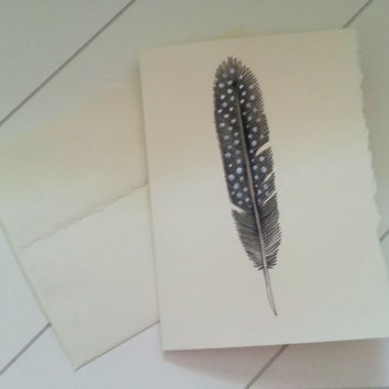 Black and White Dotted Feather Notecard, Hand Painted Stationary, Custom Greeting Card, Original Watercolor Art