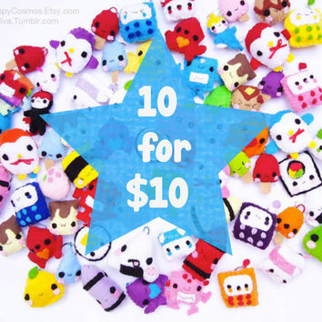 Ten Keychains for Ten Dollars - Cute Keychain , Kawaii Plush , Felt Keychain , Stocking Stuffer