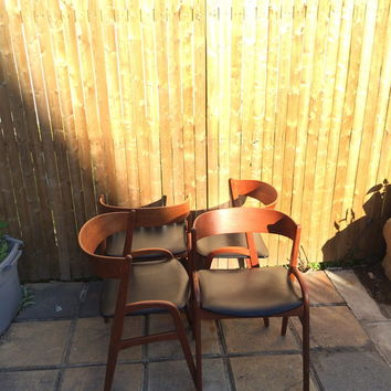 Set of 4 curved back Danish dining chairs in teak