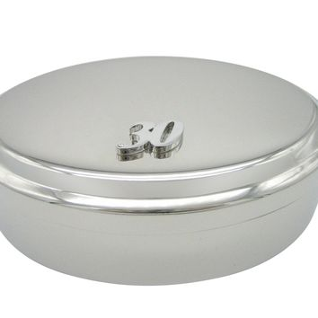 Silver Toned 30 Years Pendant Oval Trinket Jewelry Box