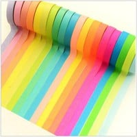 7.5mm x 5m 10pcs rainbow washi masking tape.  simple rainbow solid colors tapes