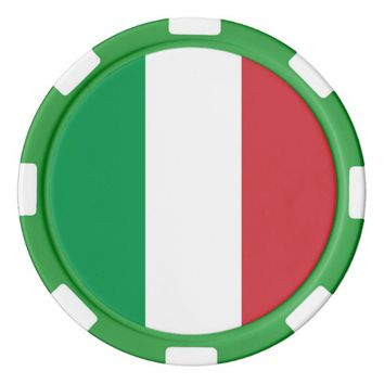 Poker chips with Flag of Italy
