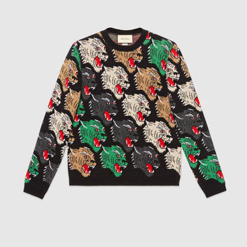 Gucci Panther face wool sweater