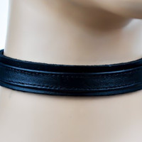 Black Leather Strap Choker Gothic Fetish Collar