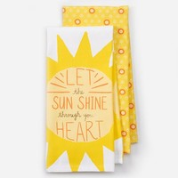 """Celebrate Spring Together """"Let The Sun Shine Through Your Heart"""" 2-pc. Kitchen Towel Set"""