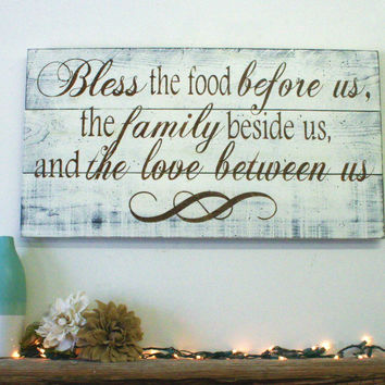 Bless The Food Before Us Pallet Sign Kitchen Wall Decor Dining R