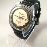 "Rare ""SLAVA AUTOMATIC 32 JEWELS"" Vintage men's watch, double calendar!!! Comes with brand new leather band."