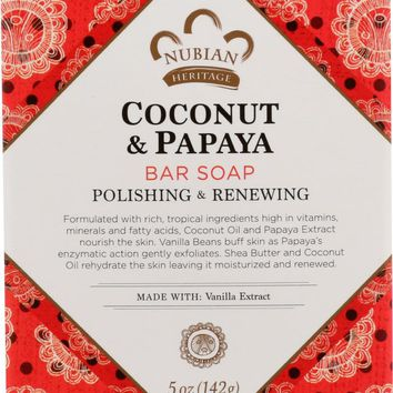 NUBIAN HERITAGE: Bar Soap Coconut and Papaya with Vanilla Beans, 5 oz