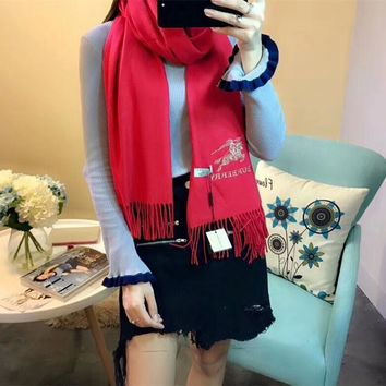 Luxury Burberry Keep Warm Scarf Embroidery Scarves Winter Wool Shawl Feel Silky And Delicate - Red