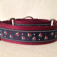 "Burgundy Nylon w/Sailboat Surprise Ribbon Martingale or Quick Release Collar Ribbon Collar 1"" Martingale 1.5"" Martingale"