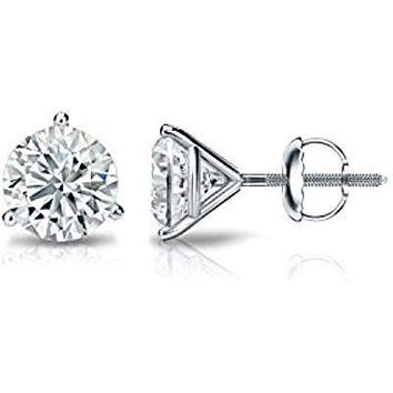 Perfect 14K White Gold 1CT Round Cut Russian Lab Diamond Solitaire Martini Stud Earrings