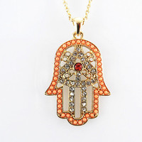 Gold Hamsa necklace / 5 colors available Blue, Black, White, Red, Orange, Bridesmaid Jewelry, Bridesmaids Jewelry, Friendship,Birthday Gift