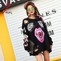 2016 new autumn women fashion punk black cartoon mouth printing hole sweatshirts o neck long sleeve street clip pullover