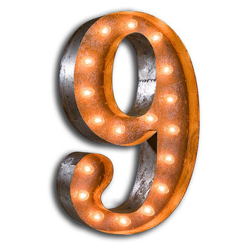 Vintage Marquee Lights Number 9, Signs