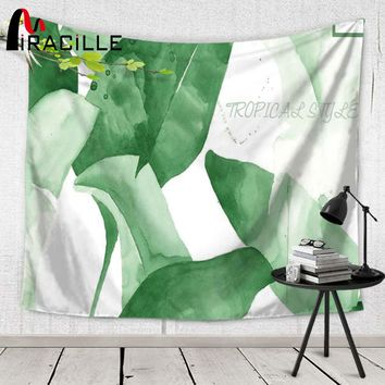 Miracille Green Leaf Plant Bird Print Wall Tapestry Tropical Hanging Indian Ethnic Dorm Decor Fashion Bedspread Yoga Mats