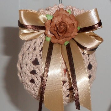 Crochet Victorian Christmas Ornament - Natural over Brown Frosted ball