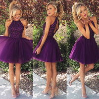 Short Prom Dress Hartler Tulle Homecoming Dress Graduation Dresses with Keyhole Back pst0027