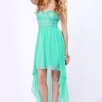 Glisten to This Strapless Teal Sequin Dress