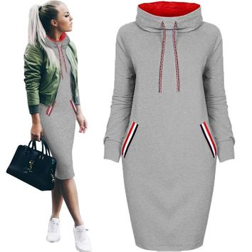 Autumn Women Winter Midi Dress Slim Casual Solid Long Sleeve With Pocket Hoodie Hoody Dresses S-3xl Bodycon Warm Dress designer clothes