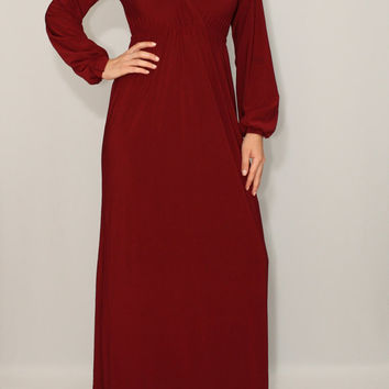 Burgundy dress Long sleeve dress Maxi dress Women