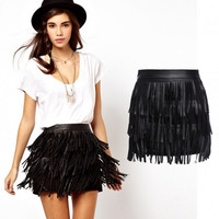 New Women's Ladies Synthetic Leather Tassels Sexy Party Club Black Mini Skirt