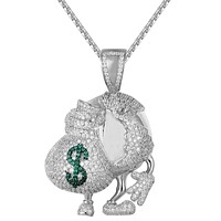 Iced Out World Globe Holding Money Bag Rich Pendant