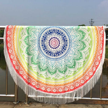 Large Cotton Blend Printed Round Beach Towel ~Tassel Circle Beach Towel Serviette Tapestry Wall Hanging I