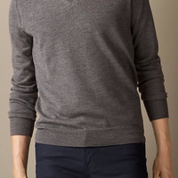 Check Elbow Patch Merino Wool V-Neck Sweater